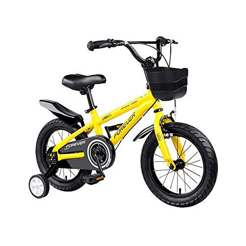 Axdwfd Kinderfiets jongensfiets met steunwielen, met intelligent startframe voor de verhoudingen van je kind, zadelgreep, 12/14/16/18 inch wielgrootte, rood, geel