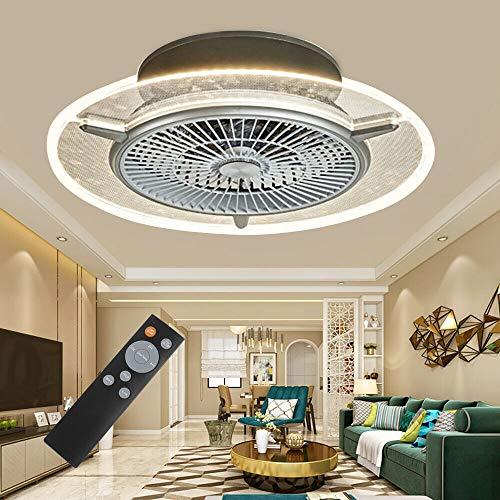 Aohuada Ventilador de techo con iluminación LED ventilador de techo con lámpara moderno e invisible lámpara de techo para comedor dormitorio salón mando a distancia