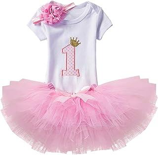Wexuua Baby Mädchen Neugeborenes 1 Geburtstag Tütü Rock Prinzessin Kleid Kurzarm Strampler Top und Ohr Stirnband Outfits 3PCS Kleidung Kleinkinder