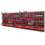 Estantería para herramientas de 2304 x 780 mm, juego de 116 soportes para herramientas con pared perforada, sistema de almacenamiento, estantería de pared, estantería de taller