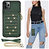 iPhone 11 Pro Max Wallet Case, iPhone 11 Pro Max Crossbody Case, ZVEdeng iPhone 11 Pro Max Zipper Case Card Holder Case Leather Crossbody Bag Star Wallet Case-Midnight Green
