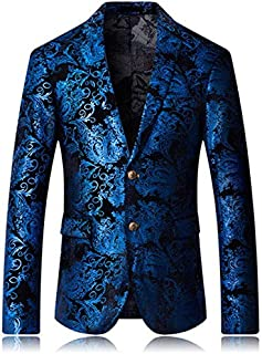 175b174bd95 Xuba Burgundy Red Floral Blazer Men Print Pattern Wedding Stage Suit Jacket  Royal Blue Velvet Blazer