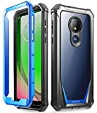 Moto G7 Power Case, Moto G7 Supra Case, Moto G7 Optimo Maxx Case, Poetic Full-Body Rugged Clear Hybrid Bumper Case, Built-in-Screen Protector, Shock Proof, DO NOT FIT Moto G7 Or Moto G7 Play, Blue