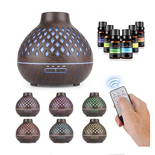 Difusor de Aceites Esenciales - Pesoo 500ml Difusor Aromaterapia Difusores de Aromas Humidificador Aromaterapia Purificador de Ambiente Ultrasónico Luces Ajustables de 7 Colores con 6 Botellas de Aceite Esencial y Control Remoto