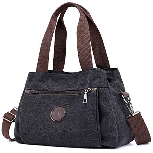 DOURR Hobo Handbags Canvas Crossbody Bag for Women, Multi Compartment Tote Purse Bags (Black)