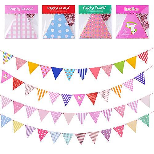 Bligo Wimpelkette Kinderzimmer 4 Stück Set, 5m Mehrfarbig Dreieck Flaggen mit 12 Wimpeln, Baby & Kinder Partykette Girlande Banner Party Set für Geburtstag Party Hochzeit Deko