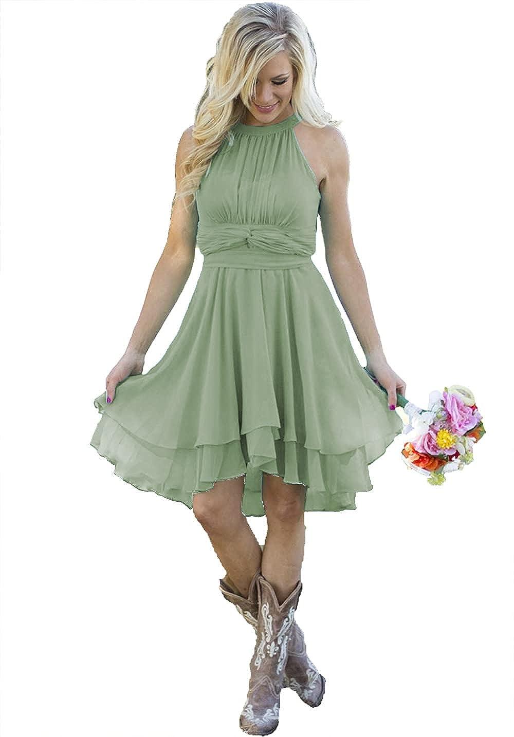 Women's Country Bridesmaid Party Dresses Short Knee Length Halter Summer Western Chiffon Wedding Guest Dress 2021 B040