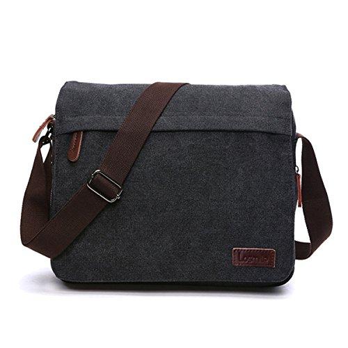 LOSMILE Men's Messenger Bag, Canvas Shoulder Bags, 13.3' Laptop Bags for Work and School,Cross-Body Bags.(BLACK)