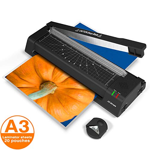 13 inches Laminator Machine, JZBRAIN A3 Laminating Machine with 20 Laminating Pouches, Paper Cutter, Corner Rounder, Thermal Laminator for Home Office School Use, Black