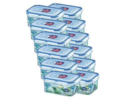 Lock& Lock HPL811 Vorratsdosen & Frischhaltedosen | Füllmenge 0,6 L | luftdicht & wasserdicht | Aufbewahrungsdose | Vorratsbehälter mit 4fach Klickverschluss - 12er Set