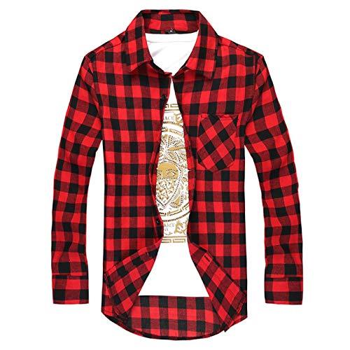 Camisa Estampada a Cuadros para Hombre Camisa clásica básica de algodón Slim Fit Primavera y otoño Moda Ocio Camisa de Manga Larga Tops X-Large