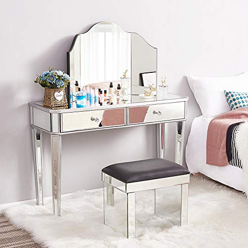 Panana Schminktisch aus Glas mit Hocker, 2 Schubladen und 3 Spiegeln, für Schlafzimmer, 110 cm (L) x 40 cm (B) x 130 cm (H)