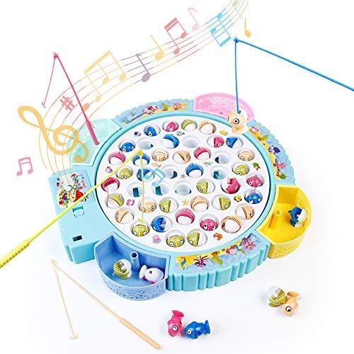 Brettspiele Fische Angeln Spiel Angelspiel mit Magnet Musik & 16 Fisch Spielzeug Geschenk Pädagogisches Spielzeug für Mädchen Jungen Kinder ab 3 4 5 6 Jahren
