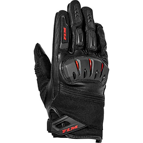 FLM Motorradhandschuhe kurz Motorrad Handschuh Sports Leder-/Textilhandschuh 3.0 schwarz 9,5, Herren, Sportler, Ganzjährig