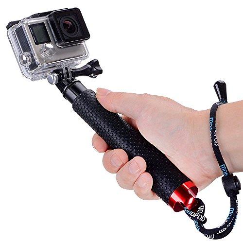 Moonlight Tech impermeabile telescopico monopiede in alluminio selfie stick GoPro accessori portatili Pole treppiedi per Geekpro/GoPro HD Hero 543+ 321SJCAM Xiaomi Yi 17,8- 48,3cm (nero)