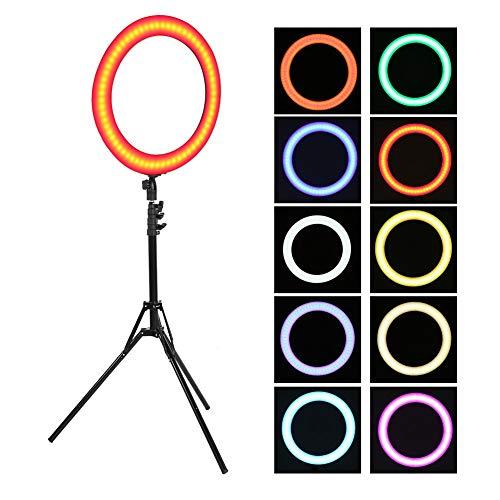 LED-ringlicht, 18 inch 4800LM dimbare fotografie video invullichtlamp met statief en handtas voor make-up opnamestudio, enz(EU)