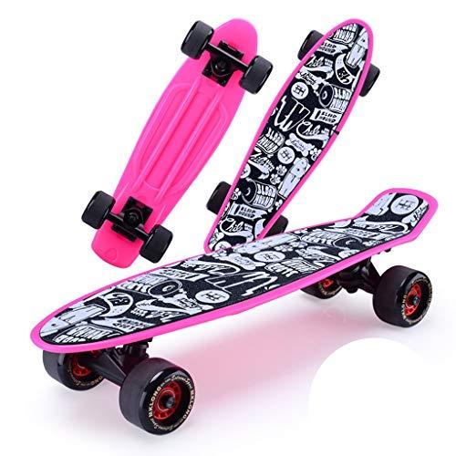 Skateboarden Kunststoff-Umweltschutz Cruiser Unisex-Tanzbrett Allrad-Roller Für Kinderanfänger Plus Spezialpaket (Color : Pink, Size : 15 * 57cm)