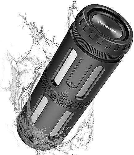Altavoz Bluetooth Portatiles, 10W Motast Altavoces Bluetooth con Linterna LED, IP56 Impermeable Inalámbrico Bluetooth Speakers, 30 Horas de Reproducción, HD Estéreo Micrófono, Llamadas Manos Libres