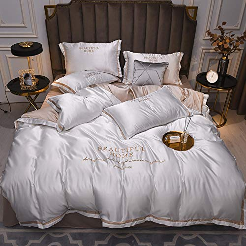 duvet cover sets,Hand washed silk double-sided ice silk four-piece bedding-P_2.0M bed (4 pieces) (220 * 240)