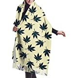 Elaine-Shop Écharpe pour Femme Jaune Feuilles de Cannabis Motif Classique Gland...