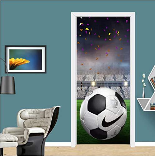 ZPCR Pegatina autoadhesiva para Puerta 3D, Suelo de fútbol, Papel Tapiz Mural de PVC, Dormitorio de Dibujos Animados para niños, Pegatinas Creativas de Vinilo DIY, diseño para el hogar