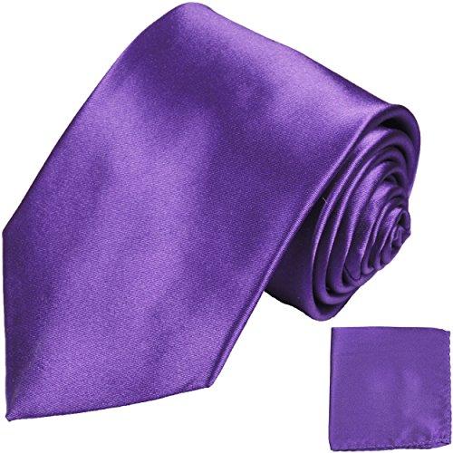 Paul Malone Krawatten Set 2tlg 100% Seidenkrawatte + Einstecktuch violett lila