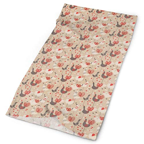 GUUi Headwear Headband Head Scarf Wrap Sweatband,Doodled Chickens with Red Ducklips Scribbled Tails and Heart Figures,Sport Headscarves for Men Women