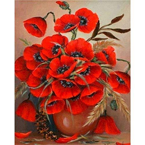 Pintura de bricolaje por nmeros para nios pintura de flores coloridas por nmeros para adultos lienzo de arte de pared A8 50x70cm