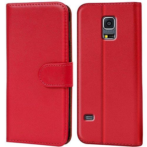 CoolGadget Klapphülle kompatibel mit Samsung Galaxy S5 Mini Tasche, 360 Grad R&umschutz Robustes Etui aus Kunstleder, Galaxy S5 Mini Schutz Hülle - Rot