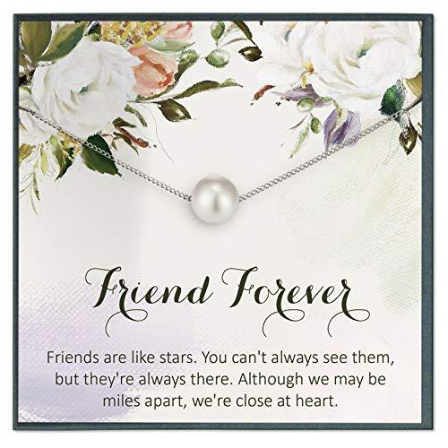 Grace of Pearl Regalos de amistad de larga distancia para mejor amigo, collar para amigos, regalos de cumpleaños para la amistad, regalos personalizados para las mujeres