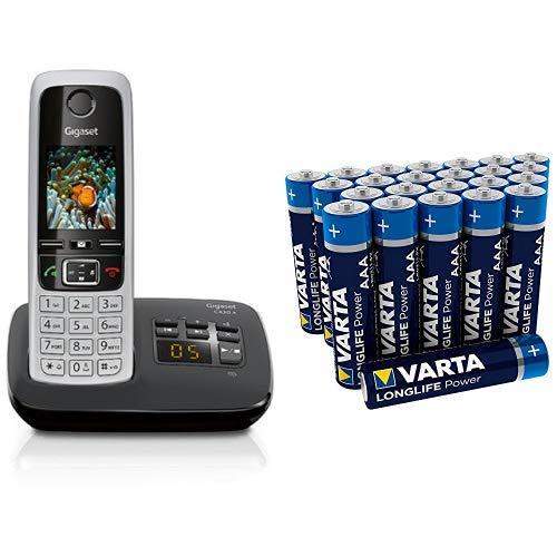 Gigaset C430A Telefon - Schnurlostelefon/Mobilteil - mit TFT-Farbdisplay/Dect-Telefon - mit Anrufbeantworter & Varta Longlife Power Batterie AAA Micro Alkaline Batterien LR03 - 24er Pack
