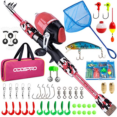 ODDSPRO Kids Fishing Pole, Portable Telescopic Fishing Rod and Reel Combo Kit - with Kids Fishing net for Boys, Girls, Youth