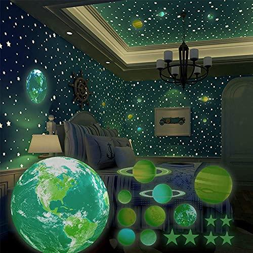 SnailGarden 470 Pezzi Adesivi da Parete Fluorescenti,Adesivi Murali Luminosi del Sistema Solare e Stelle e Quadrati Adesivi per la Camera dei Bambini