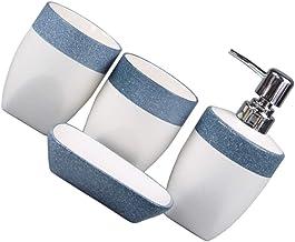 Bestonzon 4pcs Bathroom Accessories Set Including Soap Dish Lotion Dispenser Tumbler Cup Toothbrush Holder