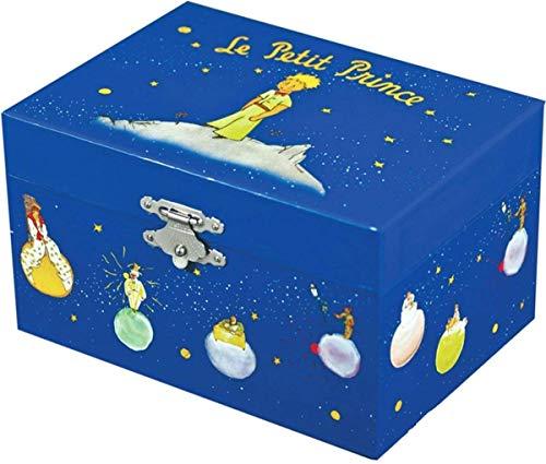 Trousselier - Der kleine Prinz Saint Exupery - Schatztruhe - Spieluhr - Ideales Kindergeschenk - Phosphoreszierend - Leuchtet im Dunkeln - Musik Mozarts Kleine Nachtmusik - Farbe königsblau