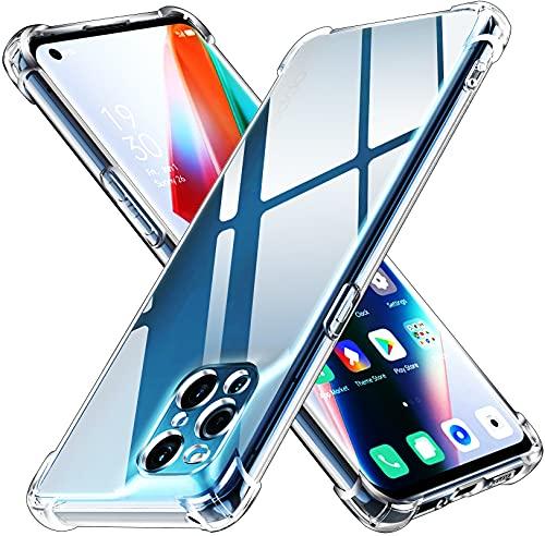 ivoler Klar Silikon Hülle für Oppo Find X3 Pro 5G mit Stoßfest Schutzecken, Dünne Weiche Transparent Schutzhülle Flexible TPU Durchsichtige Handyhülle Kratzfest Hülle Cover