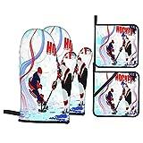 Guanti da forno e presine, set di 4, due giocatori di hockey su ghiaccio in stile cartone animato su sfondo di pista di pattinaggio astratta grunge, guanti da barbecue con cuscinetti caldi resistenti