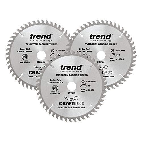 Trend CSB/PT160/3PK Craft Pro Plunge Cirkelzaagblad-CSB/PT160/3PK Diameter 160 mm Boor 20 mm Tanden 48 Triple Pack
