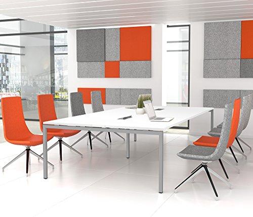 Weber Büroleben GmbH NOVA Konferenztisch 320x164cm Weiß mit ELEKTRIFIZIERUNG Besprechungstisch Tisch, Gestellfarbe:Silber