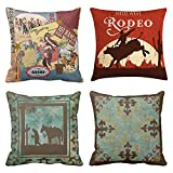 Emvency Set of 4 Throw Pillow Covers Vintage Western Cowboy Wild Modern West Rodeo Riding Bull Wooden Decorative Pillow Cases Home Decor Square 18x18 Inches Pillowcases