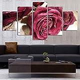 5 Piezas de lienzo Obra de arte Cartel HD Impresiones Decoración para el hogar 5 piezas Flor Arte de la pared Planta Imágenes modulares Fondo de la cabecera Pintura de la lona