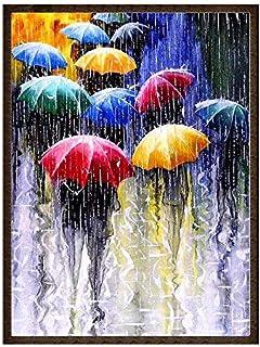 لوحة فنية ماسية بالكامل خماسية الابعاد لمشهد اشخاص بمظلات تحت الامطار، ذاتية التركيب، تستخدم كملصق للحائط لتزيين المنزل، 3...