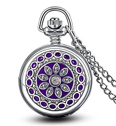 ZHAOJ Reloj de Bolsillo pequeño de Cuarzo con Flor Morada y Esmalte con Espejo, números arábigos, Plata