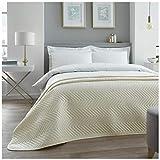 Lussuoso copriletto trapuntato in velluto, di alta qualità, grande piumone per divano e letto, design a zigzag con motivo a zigzag, color crema, per letto matrimoniale (150 x 200 cm)