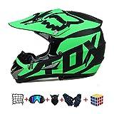 Casco Motocross Niño, ECE Certificación Casco de Moto para niños Downhill.Cascos de Cross de Moto Set con Gafas/Máscara/Red Elástica/Guantes (950, M : 54-55 cm)