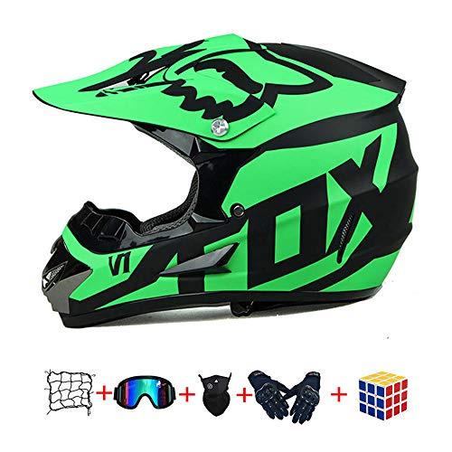 Casco Motocross Niño, ECE Certificación Casco de Moto para niños Downhill.Cascos de Cross de Moto Set con Gafas/Máscara/Red Elástica/Guantes (950, S :52-53 cm)