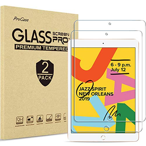 【2 Pack】ProCase Screen Protector for iPad 10.2 Inch 2019 2020 (7th / 8th Generation), Tempered Glass Screen Film Guard,for iPad 7 /iPad 8 (A2197 A2198 A2200)