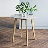 Nathan James 41402 Amalia Round Marble Bistro Dining Table with Legs in Tan Wood...