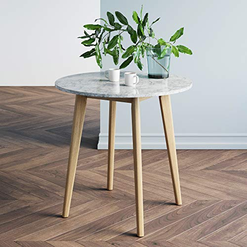 Nathan James Amalia Round Bistro Dining Table with Legs in Tan Wood Finish and Faux White Carrara...