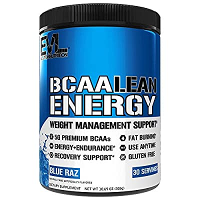 Evlution Nutrition BCAA Lean Energy - Essential BCAA Amino Acids + Vitamin C, Fat Burning & Natural Energy for Performance, Immune Support, Lean Muscle, Recovery, Pre Workout, 30 Serve, Blue Raz